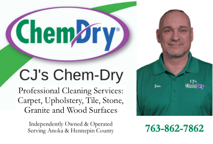 cj's chem-dry business card